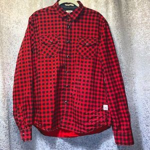 CACTUS handmade long sleeve Red shirt Mens Large